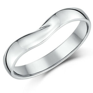 9Ct-Oro-Blanco-Espoleta-Anillo-Compromiso-Boda-Mujer-3mm-Ancho-Banda