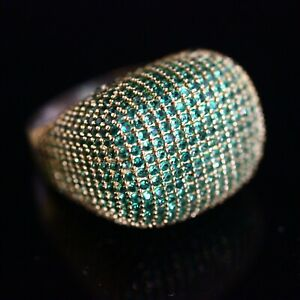 925-Sterling-Silver-Handmade-Authetic-Turkish-Emerald-Ladies-Ring-Size-8