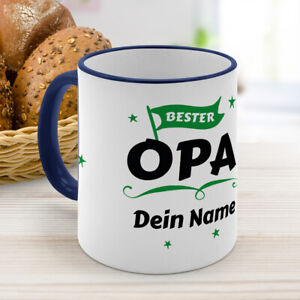 Kaffeebecher Color Dunkelblau mit Namen personalisiert - Bester Opa