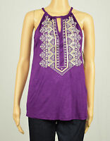 Inc International Concepts Womens Purple Embroidered Keyhole Halter Top S M L Xl