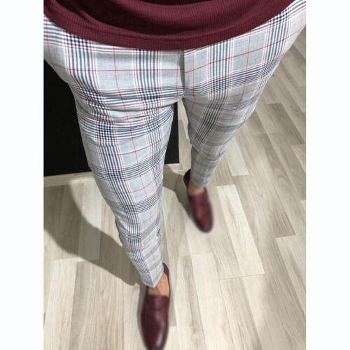 Men Plaid Print Trousers Pants Mid Rise Zipper Pocket Casual Slim Fit Stylish UK