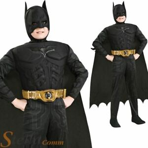Image is loading Boys-Deluxe-Batman-Costume-Dark-Knight-Muscle-Chest-  sc 1 st  eBay & Boys Deluxe Batman Costume Dark Knight Muscle Chest Fancy Dress ...