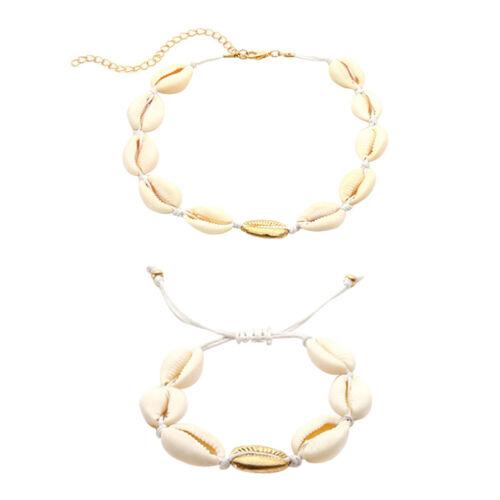 Bohemian Sea Shell Beaded Pendant Bracelet Choker Necklace Beach Jewellery Set