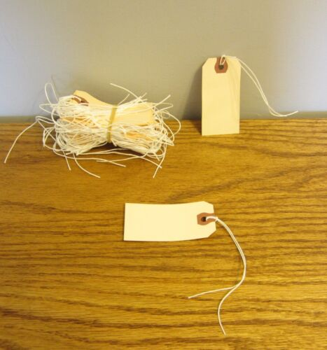 """100 AVERY DENNISON PRE STRUNG  #2 BLANK SHIPPING TAGS 3 1//4/"""" BY 1 5//8/"""" SCRAPBOOK"""