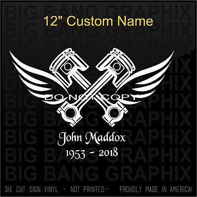 "In Memory Of Custom Name /& Year Mechanic Decal Sticker Piston Wings Window 12/"""