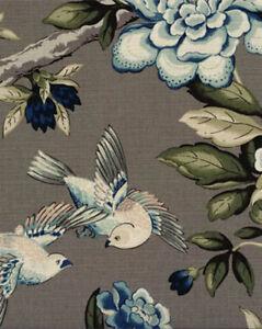 Drapery Upholstery Fabric Linen Like Cotton Birds Flowers Print