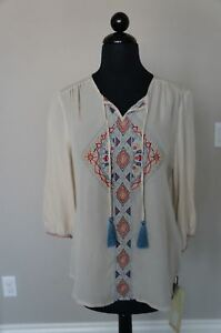 NEW-4-Love-Johnny-Was-Silk-BOHO-Embroidered-Tassel-Tie-Peasant-Blouse-Top-Ecru-S