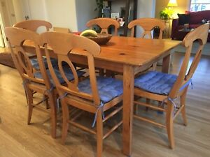 Solid Wood Dining Table And 6 Pottery Barn Chairs 450 Ebay