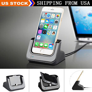 desktop dock stand station charger cradle charging for iphone 8 7 plus 5 5s 6 6s ebay. Black Bedroom Furniture Sets. Home Design Ideas