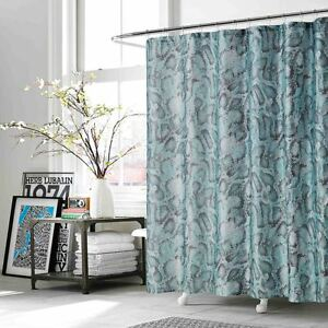 Image Is Loading Teal And Charcoal Fabric Shower Curtain Snake Reptile