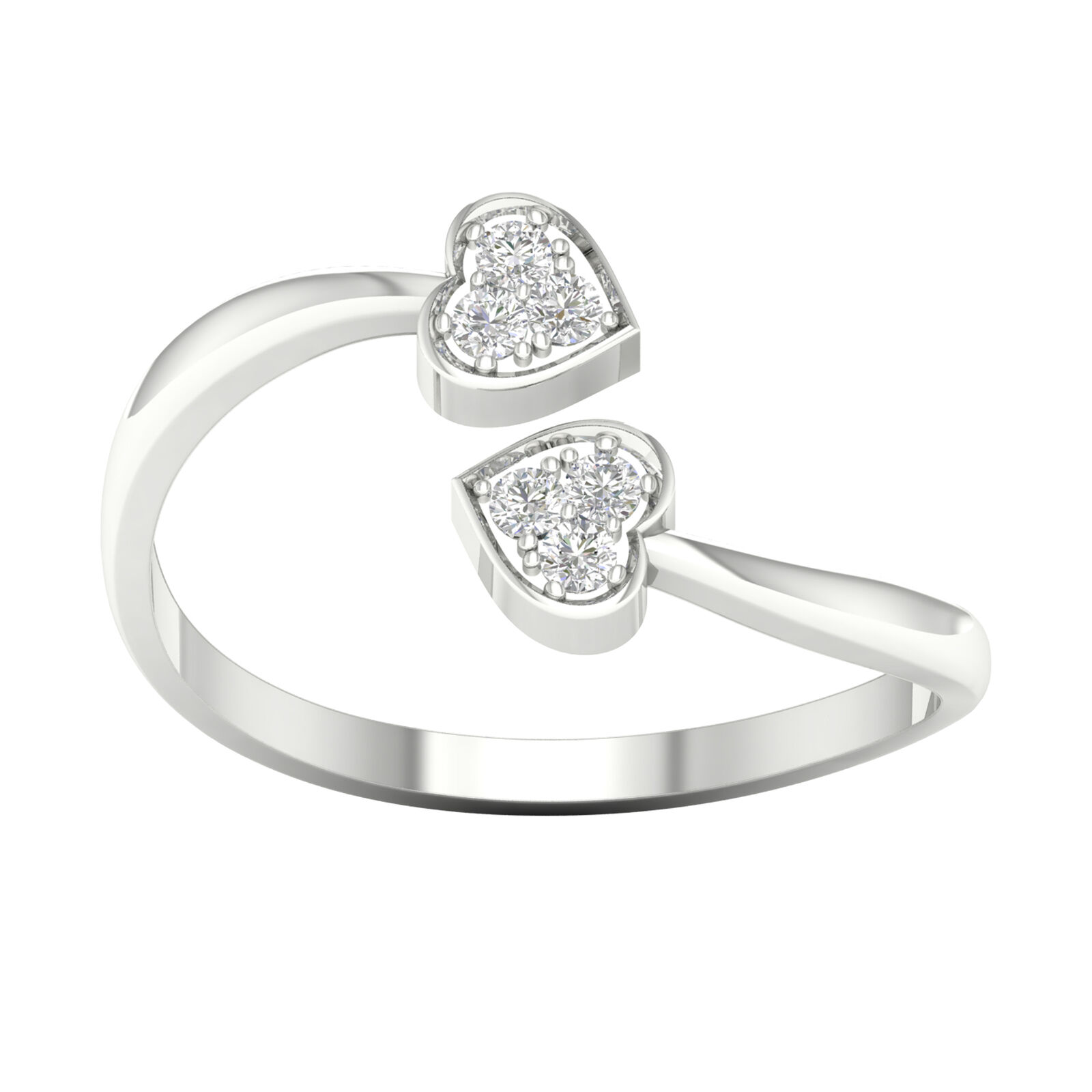 IGI Certified 10k White gold 1 20ct TDW Diamond Composite Hearts Ring