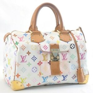 aeae52ff27ac LOUIS VUITTON Monogram Multicolor Speedy 30 White Hand Bag M92643 LV ...