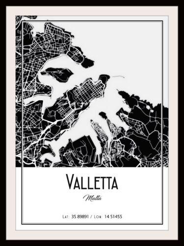 VALLETTA CITY MAP POSTER PRINT MODERN CONTEMPORARY TRAVEL IKEA FRAMES CITIES