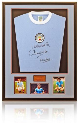 Manchester City 1970's Retro hand signed shirt Marsh Tueart & Doyle AFTAL COA