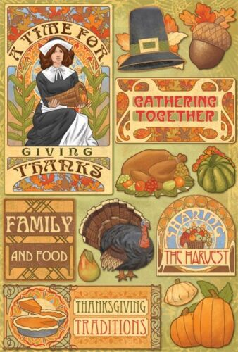 "Karen Foster GIVING THANKS 5.5/""x8/"" Cardstock Sticker Sheets #11510 Thanksgiving"