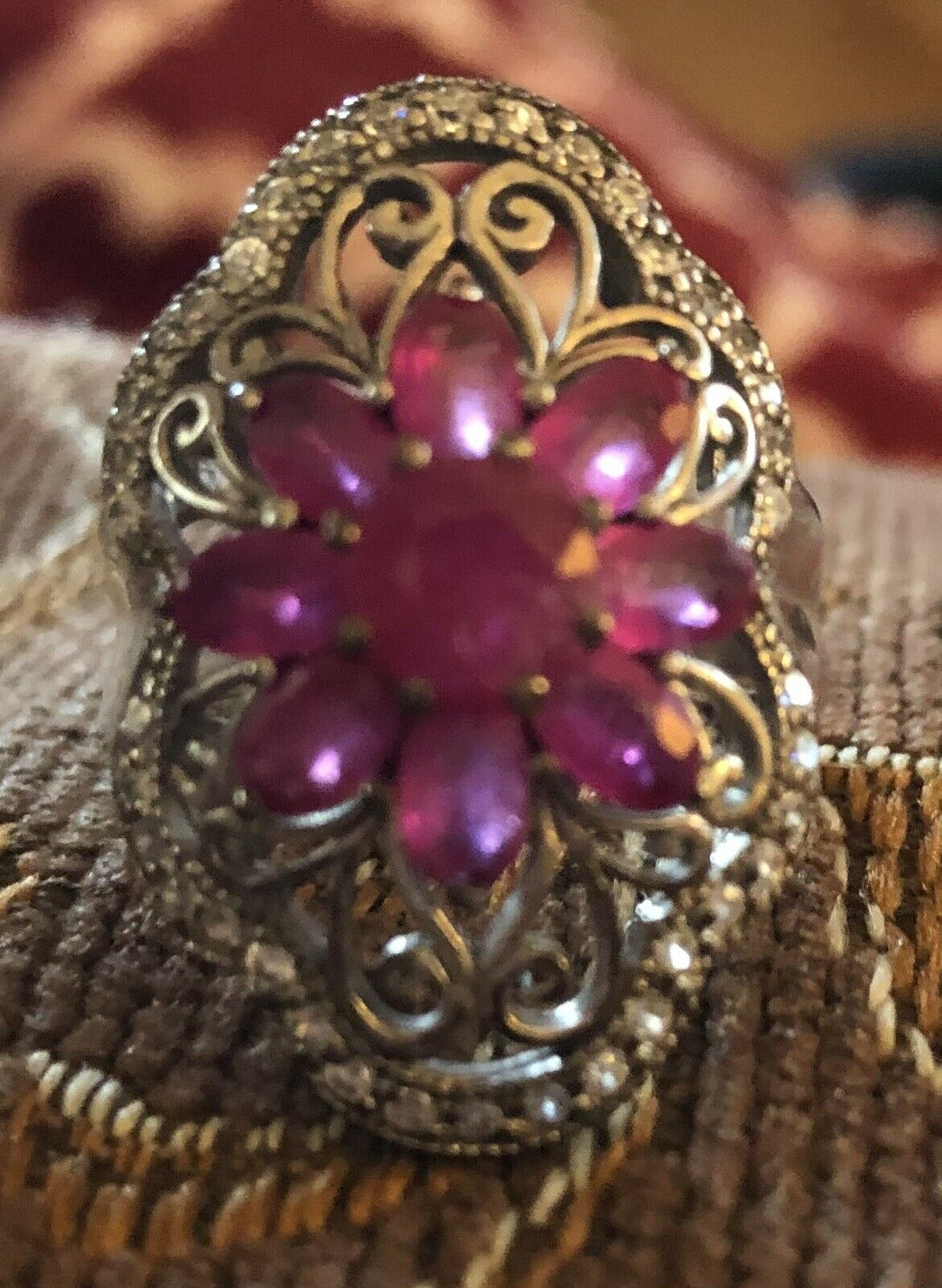 Sterling Silver Ruby Floral Flower Ring - image 3