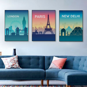 City-Silhouette-London-Paris-Poster-Print-Home-Decor-Wall-Art-Canvas-Painting