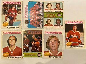 1970-039-s-Montreal-Canadiens-13-Card-Lot-Dryden-Lafleur-Unmarked-Team-Checklist