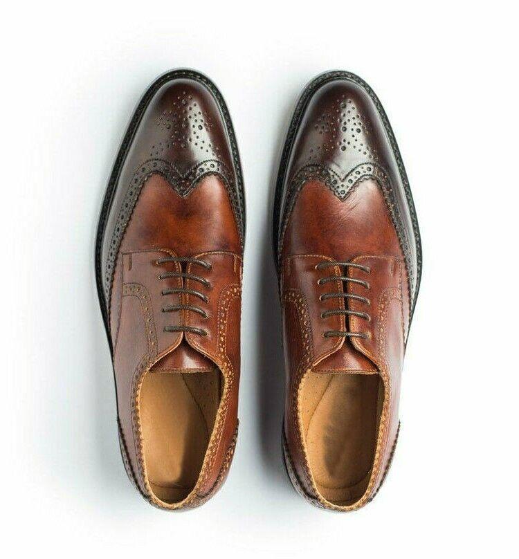 Manofatto Due Tone Marronee Wing  Tip Full Brogue Toe Vintage Leather Lace Up scarpe  disegni esclusivi