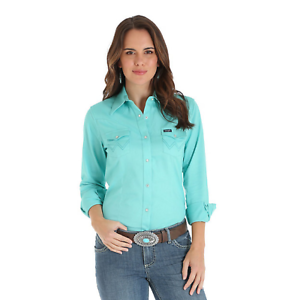 Wrangler-Women-039-s-Solid-Turquoise-Snap-Up-Western-Shirt-LW2012Q