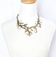 CORAL BRANCH WHITE PEARL CRYSTAL RHINESTONE Chunky Collar Bib Statement Necklace
