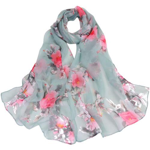 Mode féminine en mousseline de soie Peach Blossom Impression Long Wrap écharpe châle Foulards
