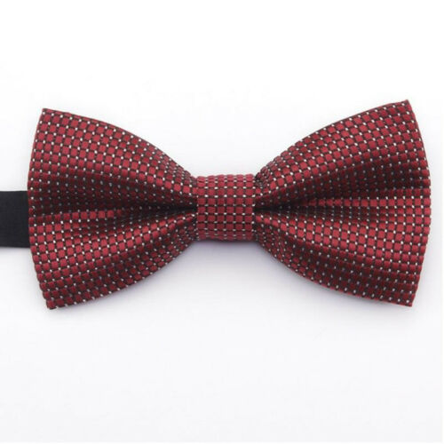 Men/'s Boys Kids Formal Suit Classic Maroon Red Wine Square Grid Bow Ties