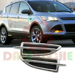 For-Ford-Escape-Kuga-2013-2016-Black-ABS-Plating-Body-Side-Vent-Fender-Replace
