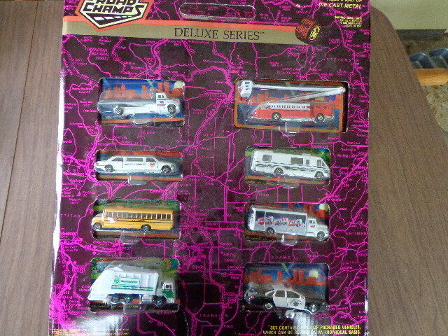 Rare De Trouver  ROAD CHAMPS DELUXE SERIES DIE-CAST Plastique Store Display Set 1993  promotions d'équipe