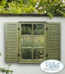 Green Garden Glass Mirror W Wooden Shutters Outdoor Illusion Window Antique Ebay