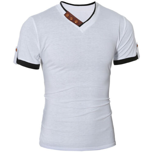Fashion Men/'s Slim Fit Cotton Shirts V-Neck Short Sleeve Casual T-Shirt Tops