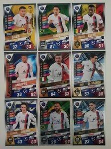 2020-Match-Attax-101-Soccer-Cards-Paris-St-Germain-Team-Set-PSG-Mbappe-Neymar
