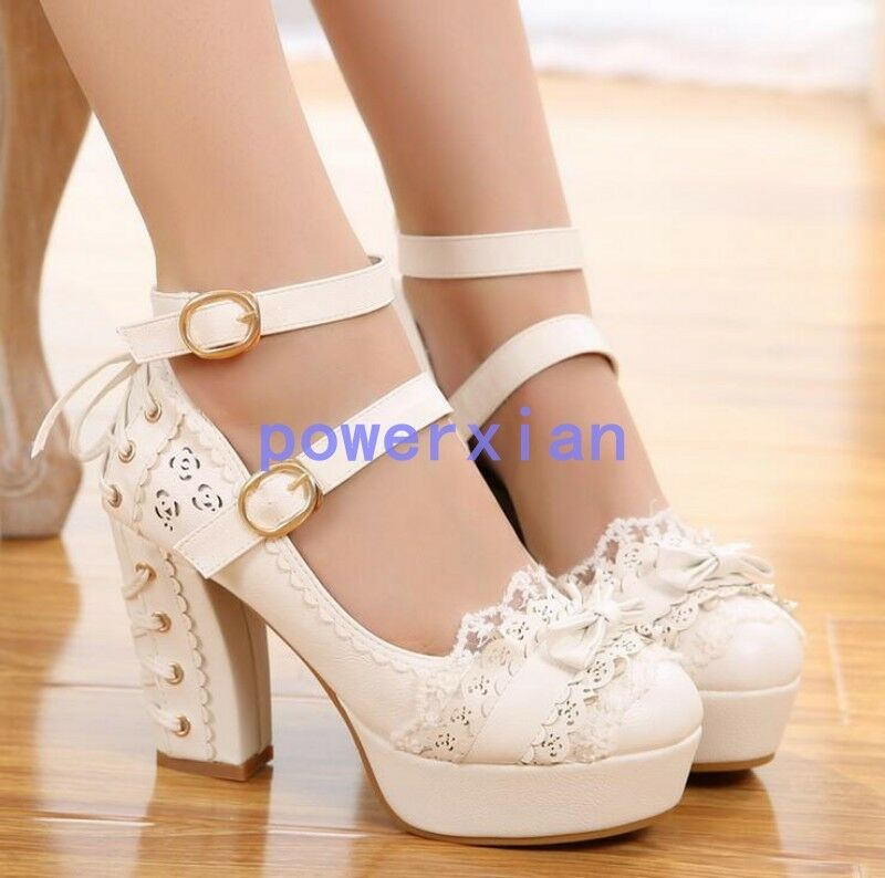 femmes Lolita Platform High Block Heel Buckle Bowknot Fashion Pumps chaussures 5-9