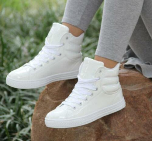 Womens Round Toe Lace Up Flat Patent Leather Sneakers High Top Ankle Boots Shoes