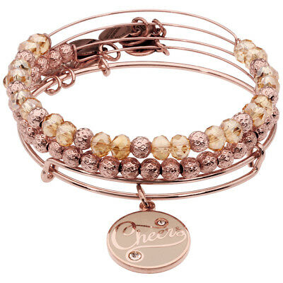 Alex And Ani Champagne Cheers Set Of 3 Shiny Rose Gold Finish Bangle A16HS02SR