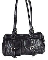 Tignanello Black w/ White Stitching Buckle Pockets Pebbled Leather Shoulder Bag