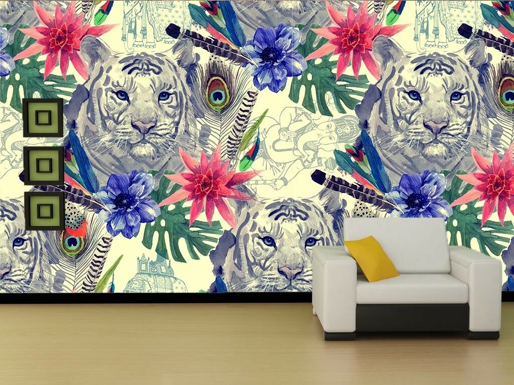 3D Tiger Flowers 78 Wall Paper Murals Wall Print Wall Wallpaper Mural AU Kyra