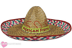 mexican fiesta sombrero hat wild western bandit fancy dress costume ... bc5fb7b11cfc