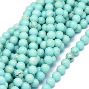 5 Strds Natural Turquoise Stone Beads Smooth Round Semi Gems Tiny Blue 8mm DIA