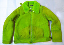 POLO RALPH LAUREN WOMEN'S KIWI GREEN LAMB SHEARLING JACKET MADE IN ITALY SIZE XL