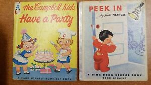 The-Campbell-Kids-Have-a-Party-amp-Peek-In-Lot-of-2-Rand-McNally-Books-Vtg
