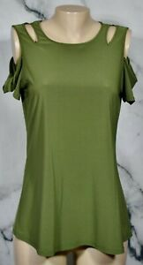 NY COLLECTION Green Cold Shoulder Short Sleeve Top Medium Unlined Polyester Blnd