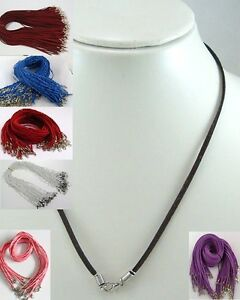 Necklace-Cord-Suede-Leather-w-Lobster-Clasp-3MM-9-BRILLIANT-Colors-1-PIECE-EA