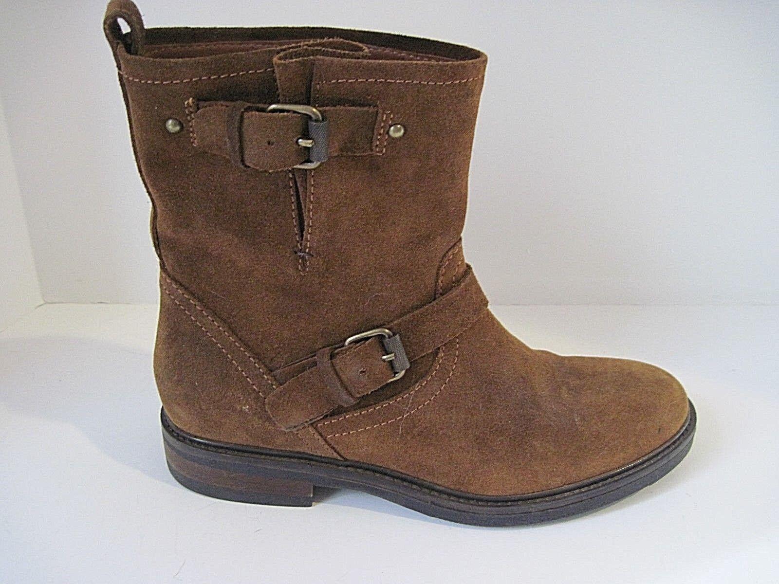 J Crew Biker Suede Boots Warm Chestnut Size 8 1 2