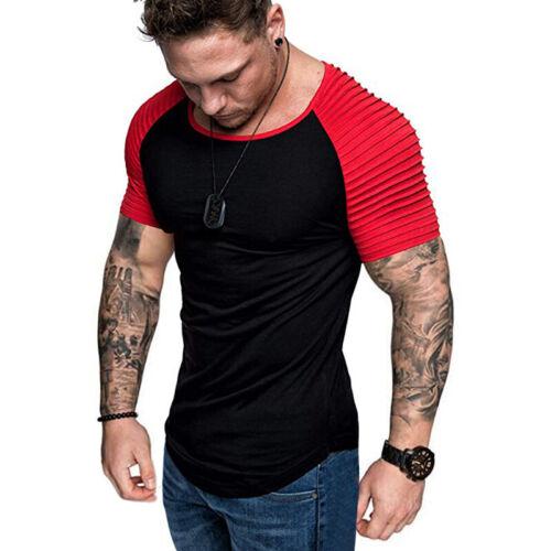 Mens Dress Shirt Long Short Sleeve Casual Summer Muscle Slim Fit T-shirt Top UK