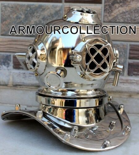 Scuba Miniature US NAVY MARK V DIVING DIVERS HELMET BRASS CHROME NICKEL FINISH