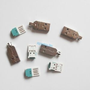 5Pcs-USB-4-Pin-Type-A-Male-2-Piece-NO-Solder-Connector-Plug-Metal-Cover