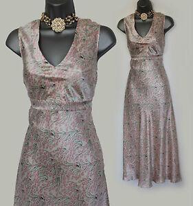 MONSOON-UK-12-Ivory-Pink-Print-Silk-V-Neck-Mid-Length-Cocktail-Party-Dress-EU40