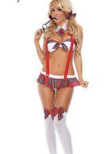 Sexy Damen Student Uniform Lingerie Costume Cosplay Nachtwäsche weiß Red ME
