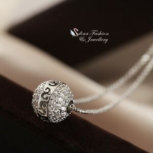 ae8a258b9713f Details about 18K White Gold GF Diamond Studded Vintage Pattern Single Bead  Strand Necklace